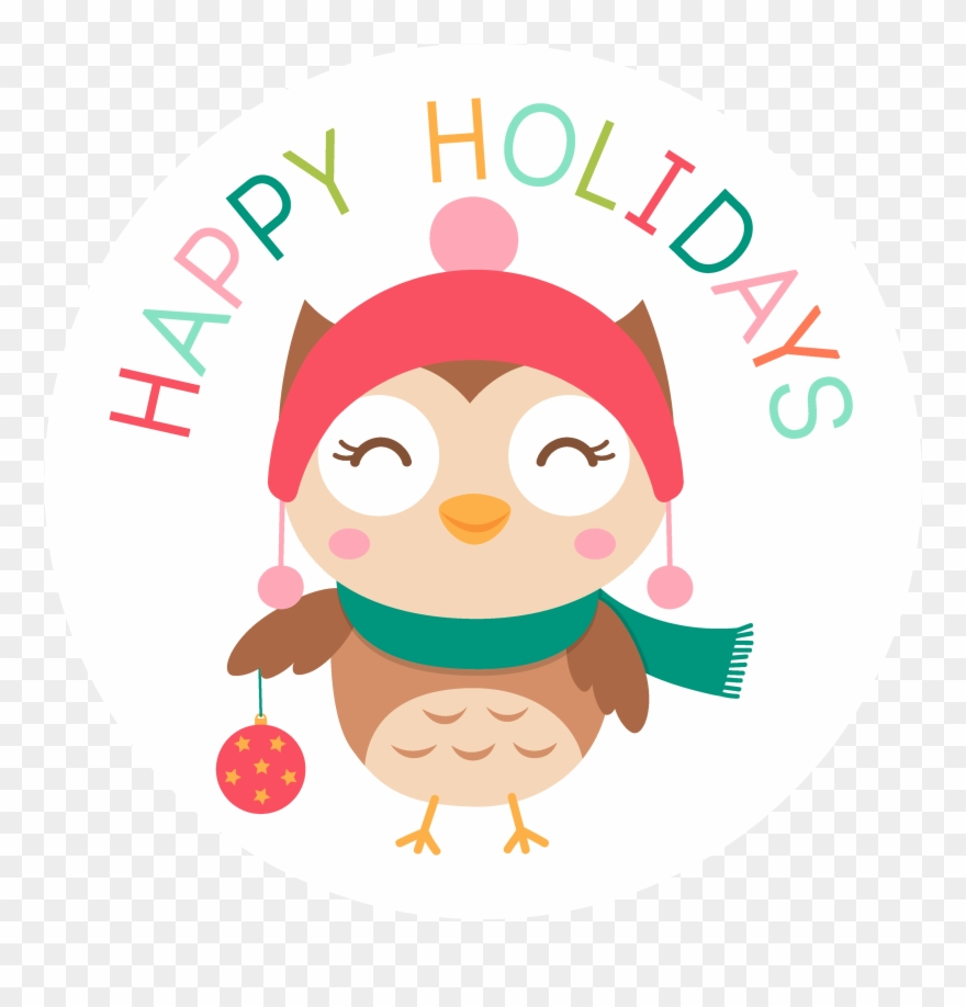 Happy Holidays Christmas Owl.