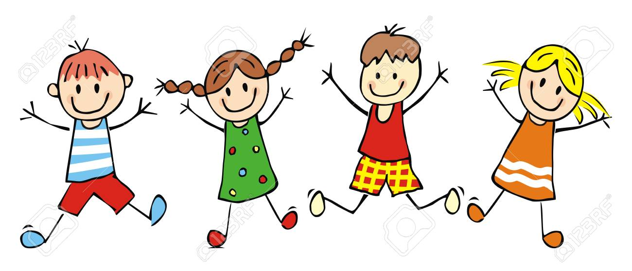 Happy kids, jumping girls and boys, funny vector illustration.