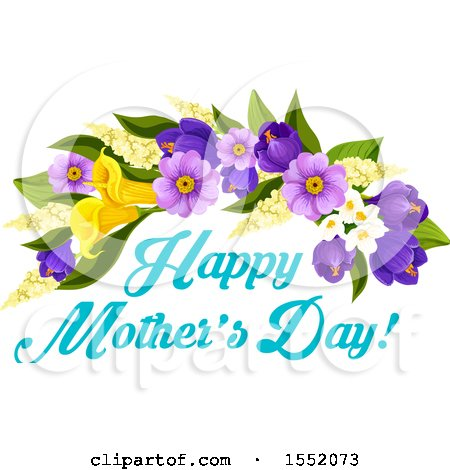 Clipart of a Happy Mothers Day Greeting and Flower Design.