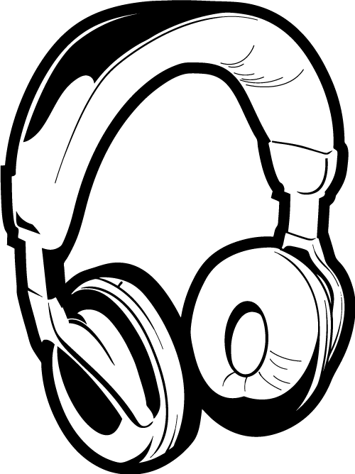 Computer Headphone Clipart Black And White.