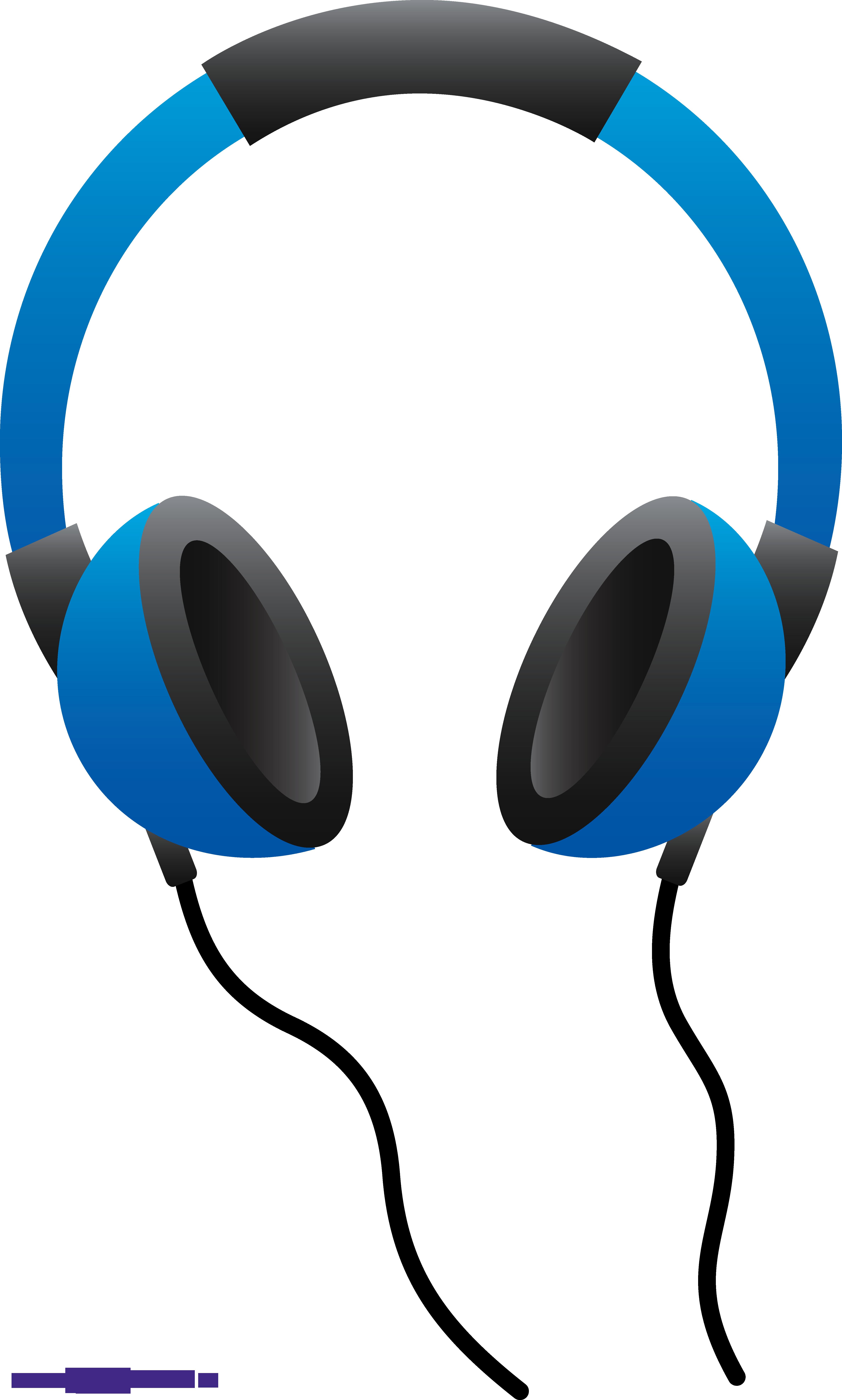 Blue Headphones Clipart.