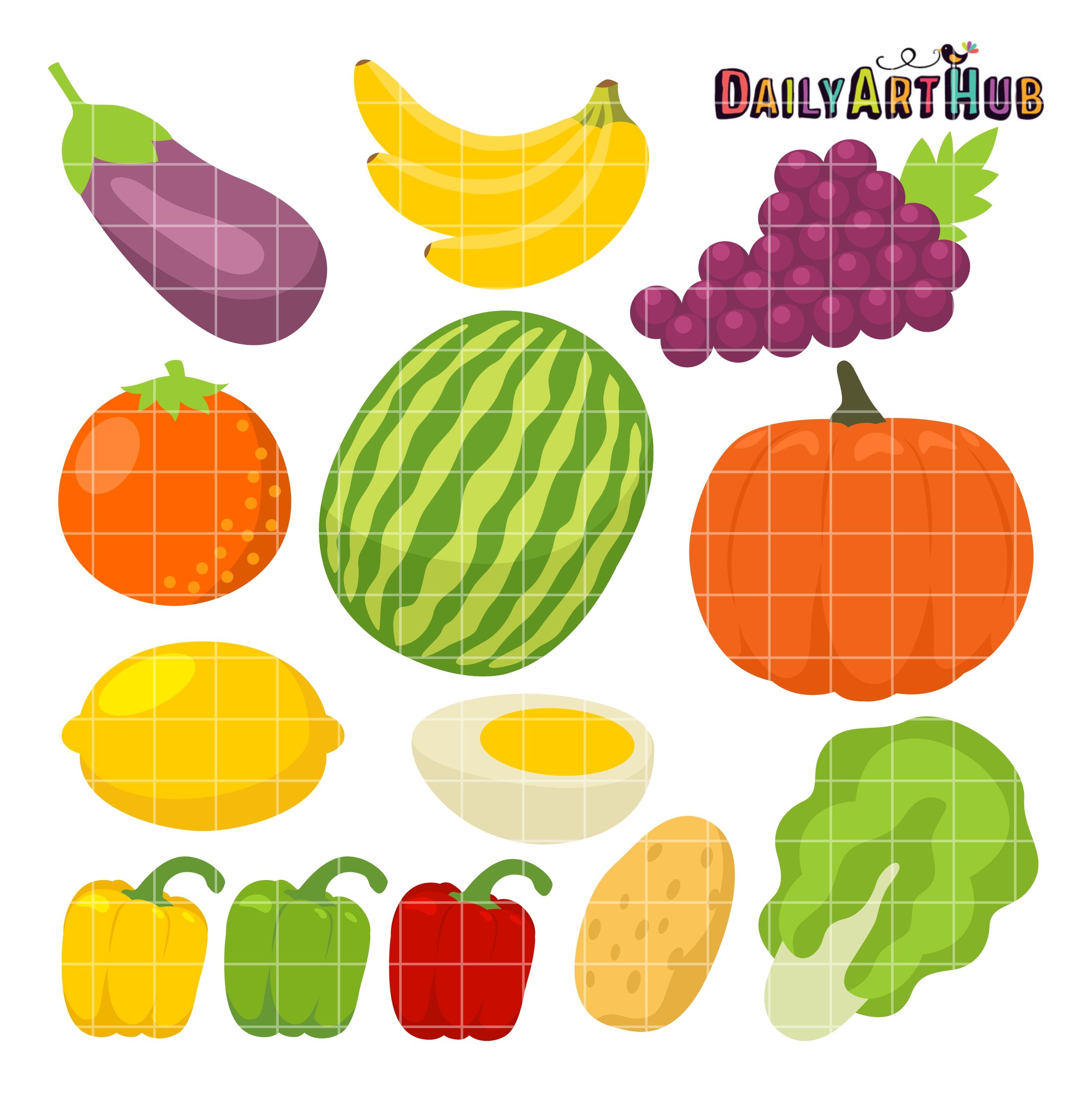 Healthy Foods Clip Art Set.