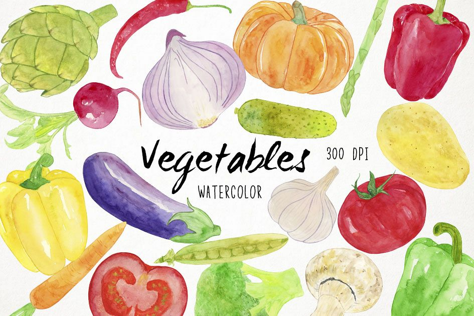 Watercolor Vegetables Clipart, Healthy Food Clipart.