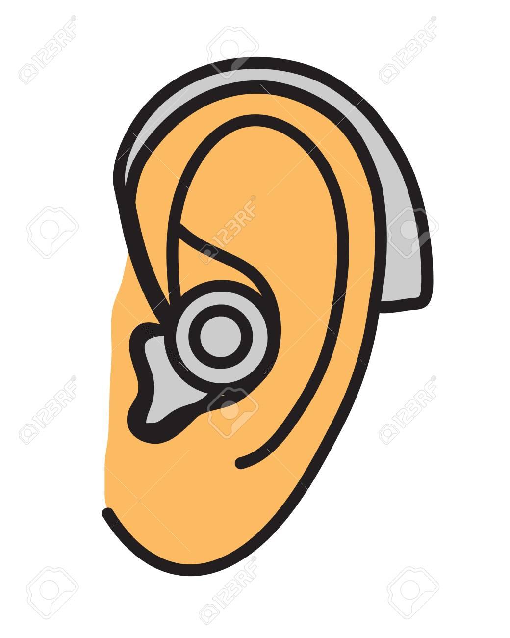 Hearing aid. Vector illustration..