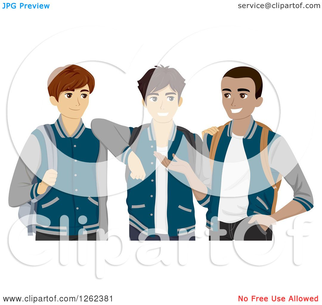 Clipart of Three High School Students in Their Varsity Jackets.