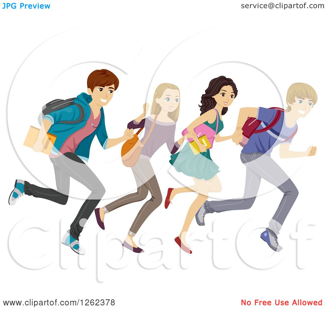 Clipart of a Group of High School Students Running.