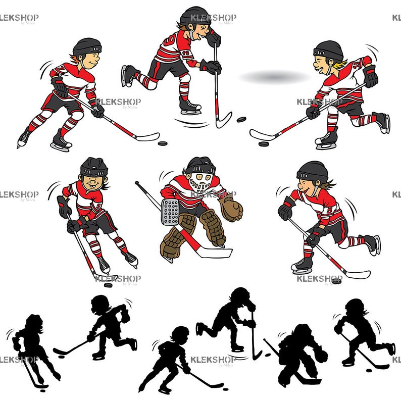 Hockey Players Sport Kids Clip Art/Hockey Clipart/Digital file/Editable  Vector PDF and EPS + PNG, svg,dxf,jpeg Files, Instant download.