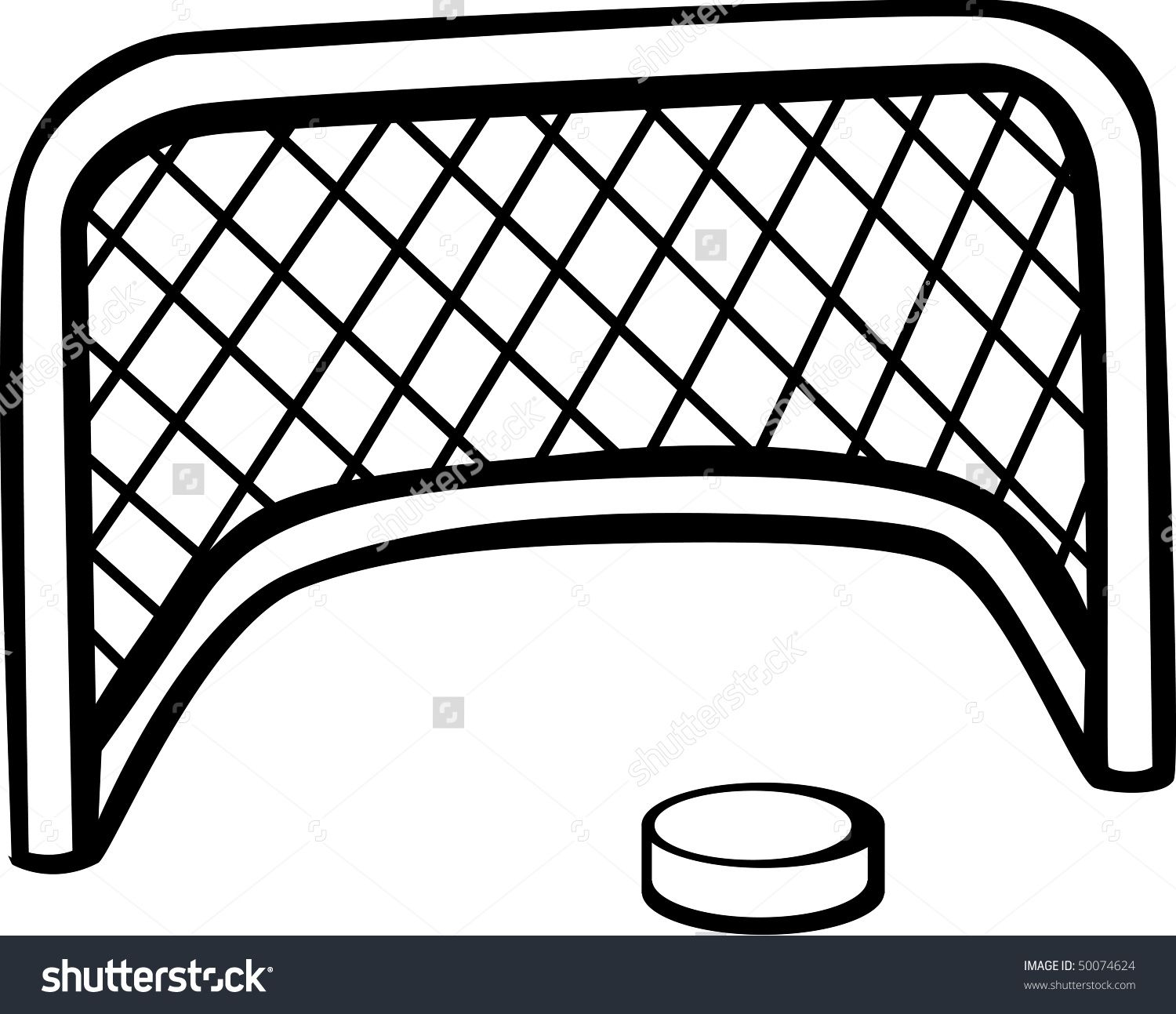 Hockey Puck Goal Net Stock Illustration 50074624.