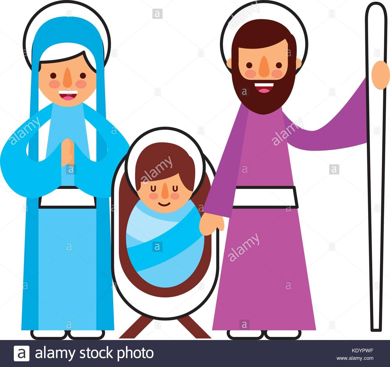 christmas nativity scene holy family jesus mary and joseph Stock.