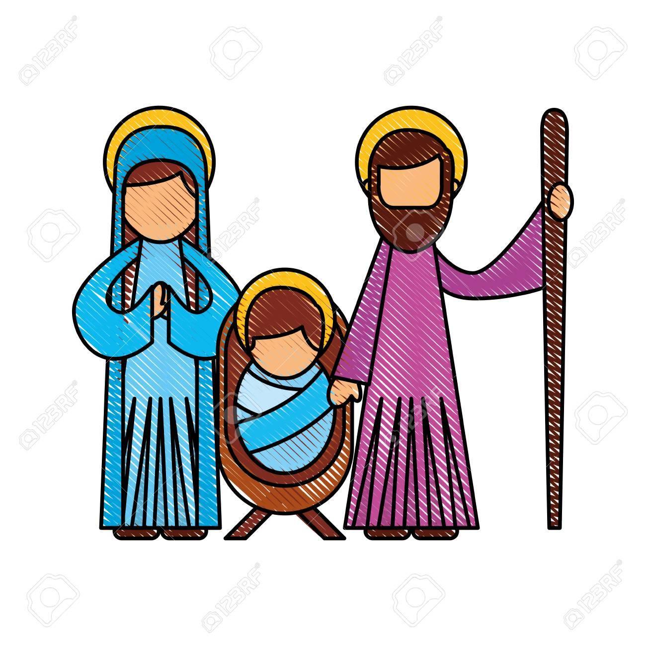 A christmas nativity scene holy family jesus mary and joseph...