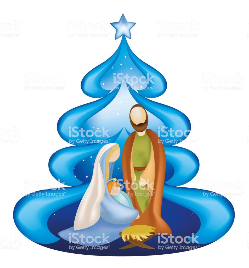 Isolated Christmas Tree Nativity Scene With Holy Family Joseph Jesus.