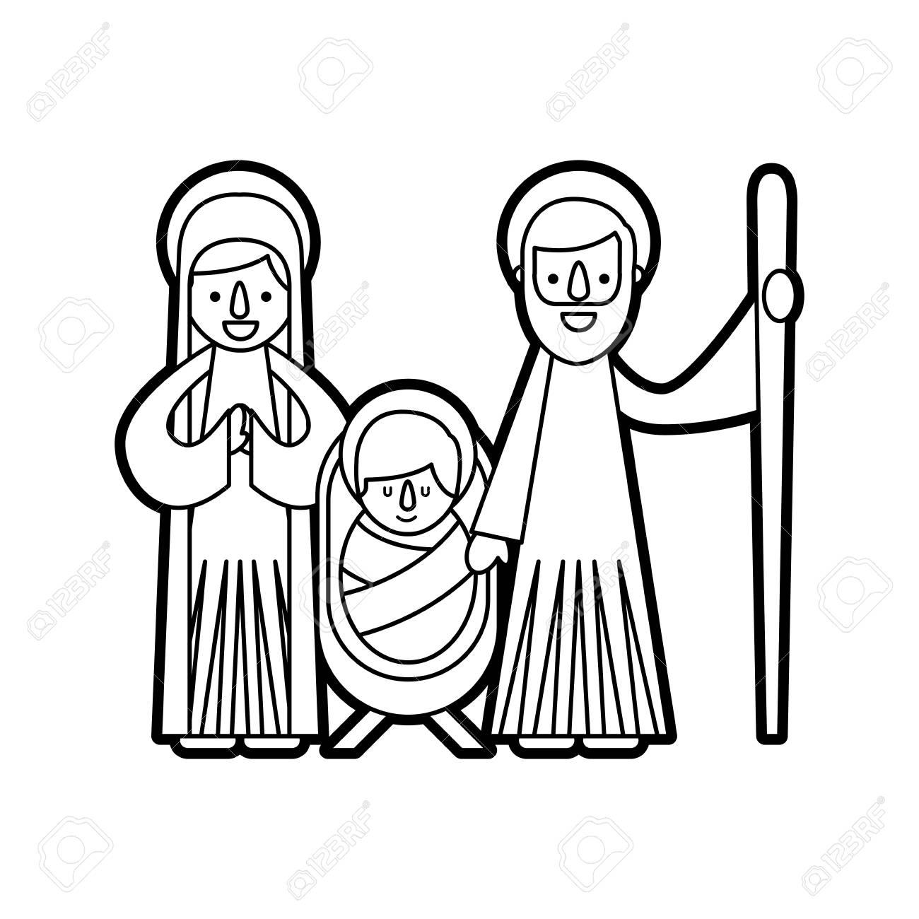 christmas nativity scene holy family jesus mary and joseph.