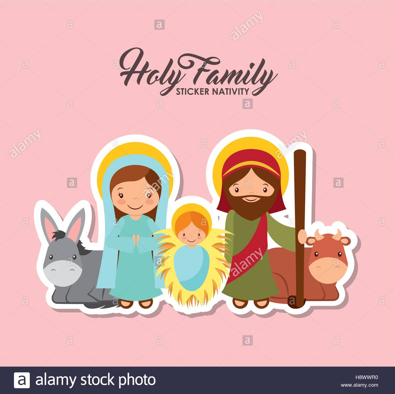 holy family characters. virgin mary with saint joseph and baby jesus.