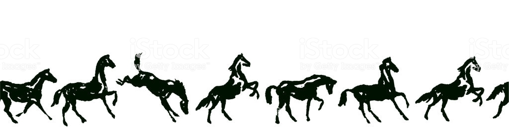 Equestrian Seamless Border With Horse Silhouette In Various Poses And  Motion Stock Illustration.