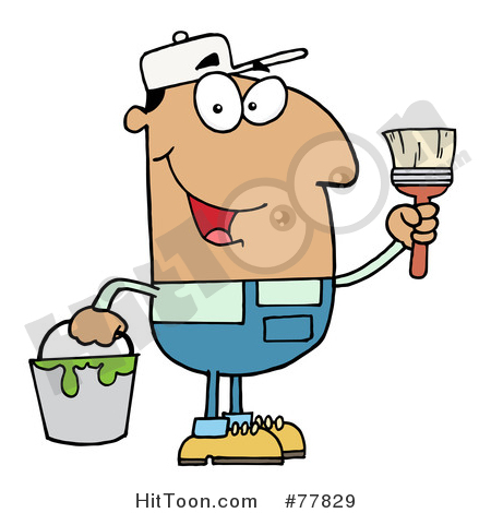 Painter Clipart #77829: Male Hispanic House Painter Holding a Pail.