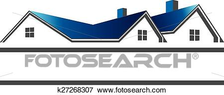 Houses roofs for real estate logo Clip Art.