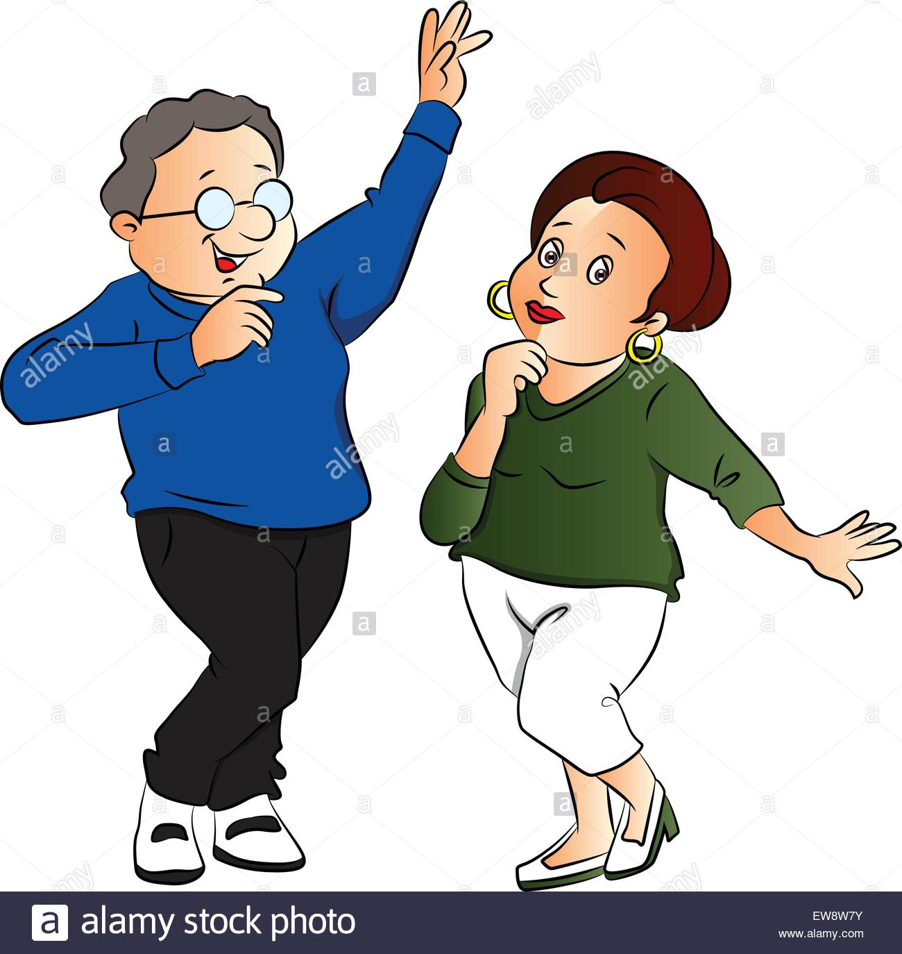 Vector illustration of husband and wife dancing against white Stock.