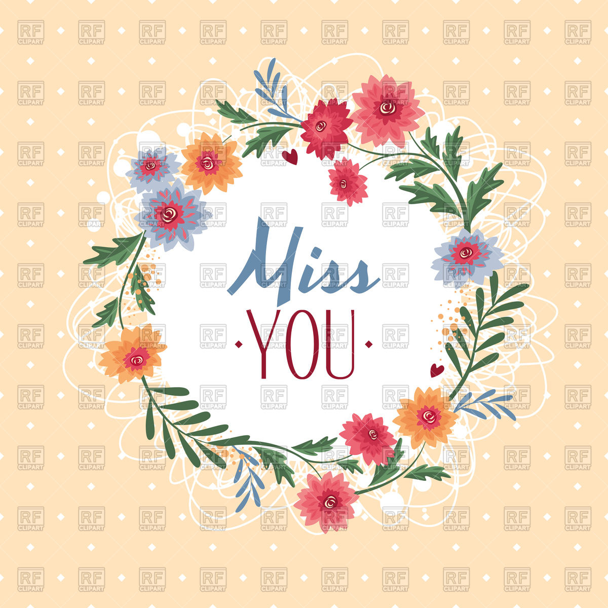 Miss you text in floral frame Stock Vector Image.