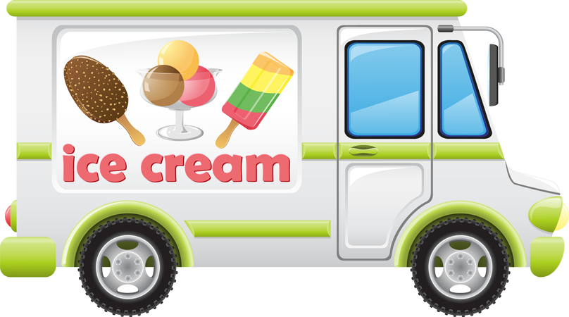An ice cream truck clip art can be used in a children's story book.