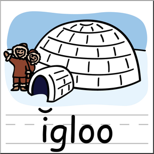 Clip Art: Basic Words: Igloo Color Labeled I abcteach.com.
