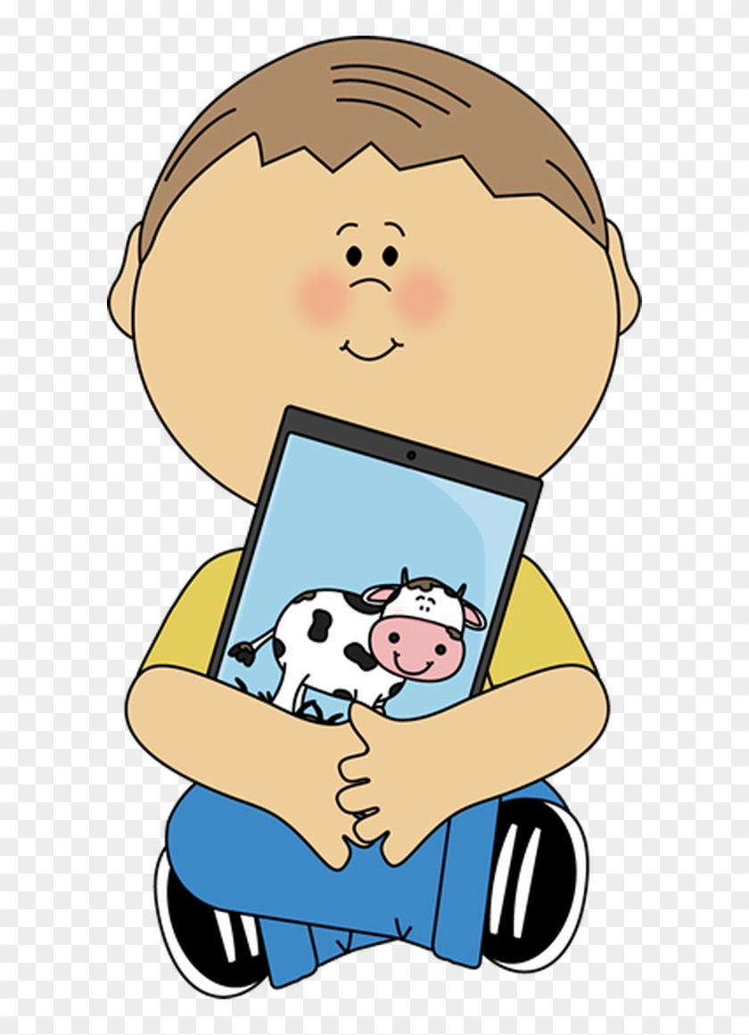 Kid Sitting With A Tablet.