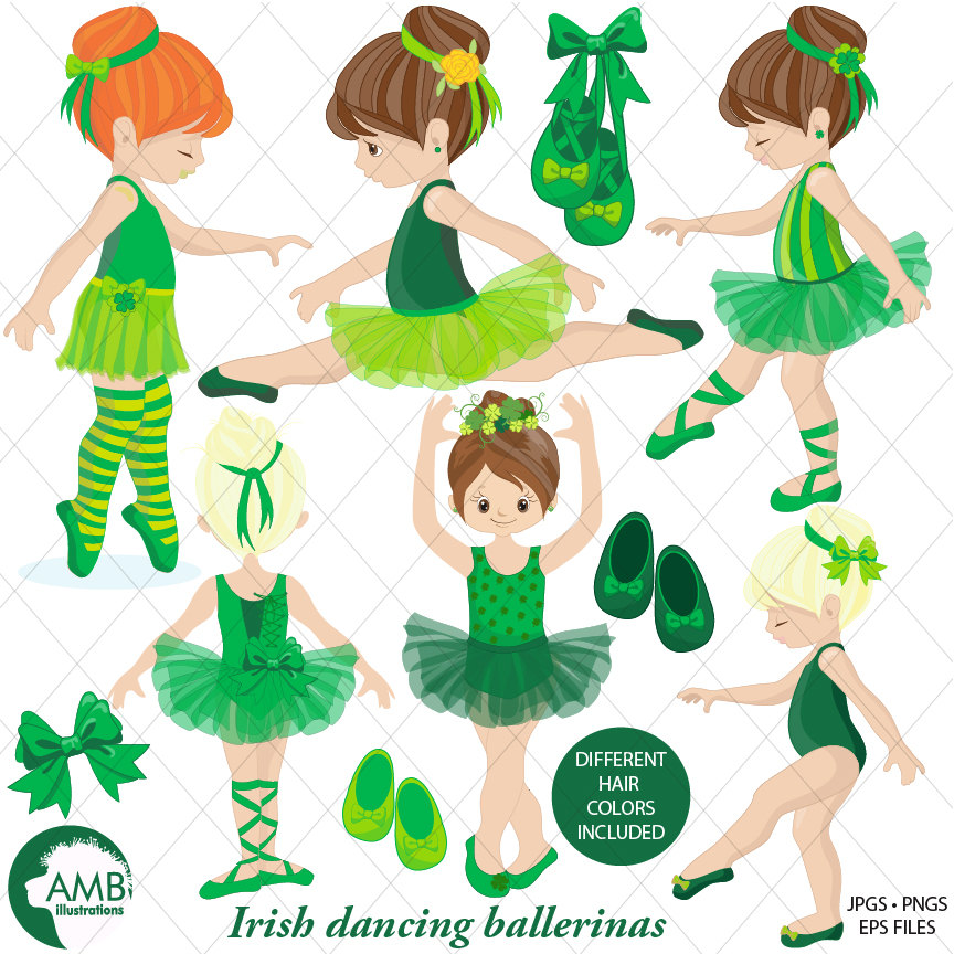 Irish Ballerina clipart, Irish Ballet clipart, irish dancers, girl dancing,  commercial use, instant download, AMB.