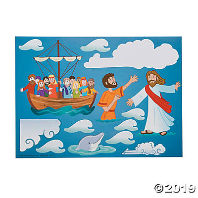 Jesus & Peter Walk on Water Mini Sticker Scenes.