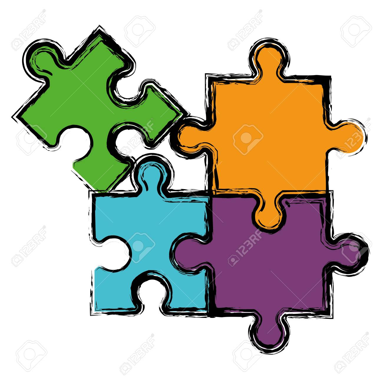Vector Shapes Of Jigsaw Puzzle Pieces; Jigsaw Puzzle.