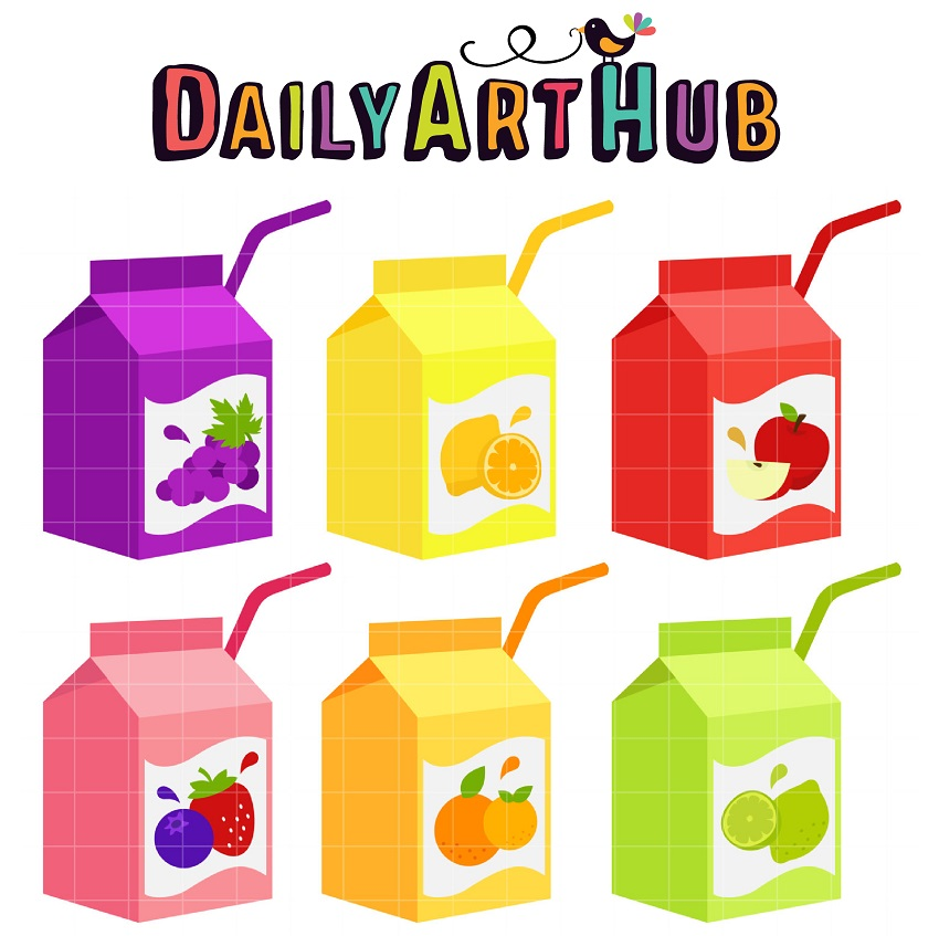 Juice Box Clip Art Set.