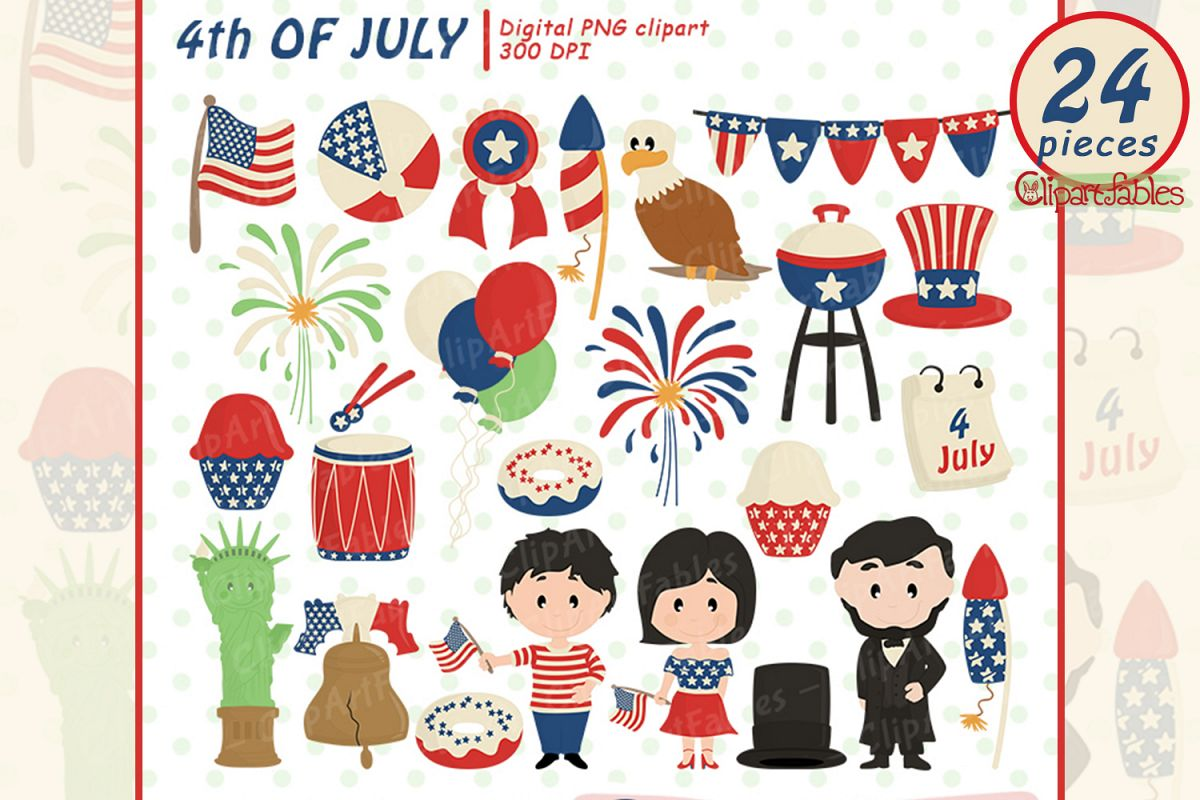 Happy INDEPENDENCE Day clipart, 4th of JULY clipart, USA art.