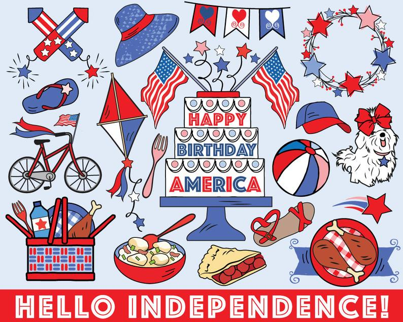 Fourth of July Clipart, vector, summer clipart, 4th of July clipart, July  4th clipart, bullet journal stickers, summer clip art.