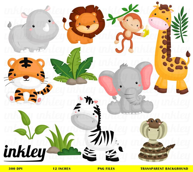 Jungle Animal Clipart,Jungle Clip Art, Jungle Animal Png, Animal Clipart,  Forest Clipart, Snake Clipart, Digital Clipart, Zebra Clipart.