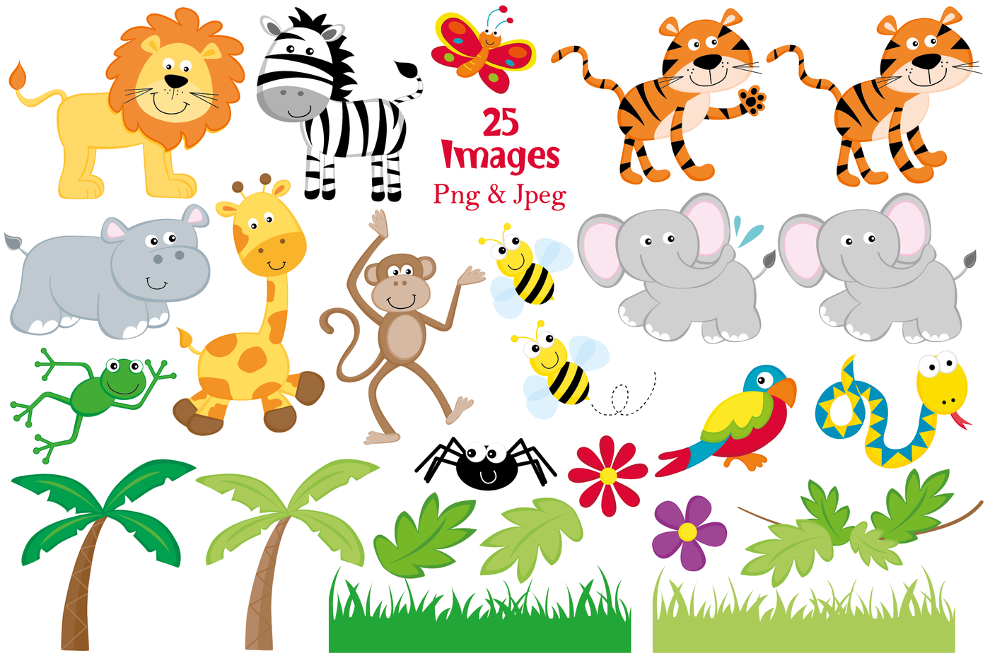 Jungle Animals Clipart, Jungle Graphics & Illustrations, Jungle.