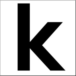 Clip Art: Alphabet Set 00: K Lower Case BW I abcteach.com.