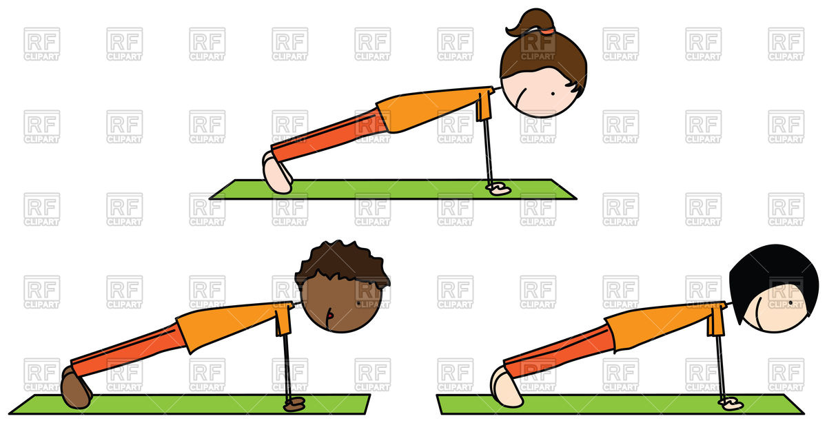 Cartoon illustration of three kids exercising Stock Vector Image.
