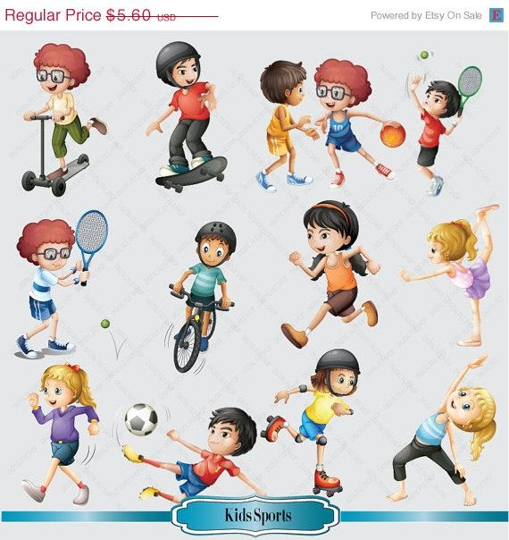 SALE Kids Sport Clipart for Personal and Commercial Use (Kid Sports.