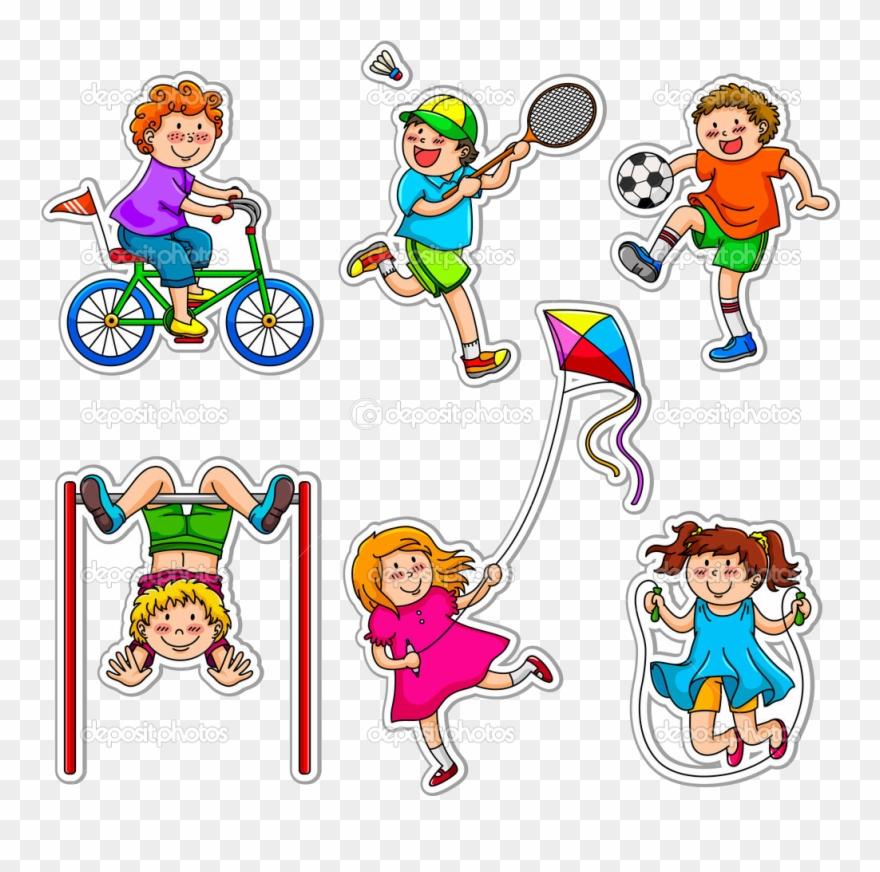 Sports Kids Clipart Depositphotos Active Playing Transparent.