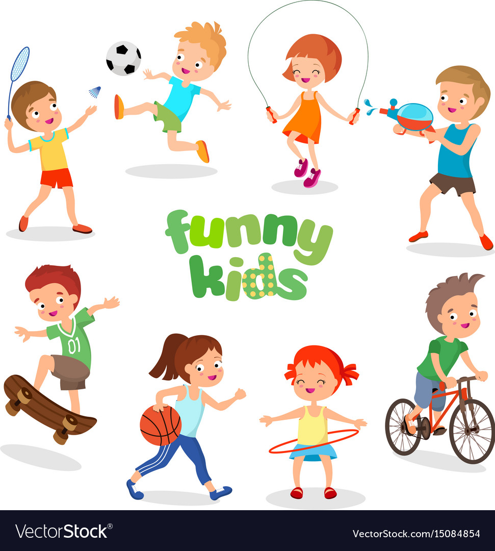 Uniformed happy kids playing sports active.