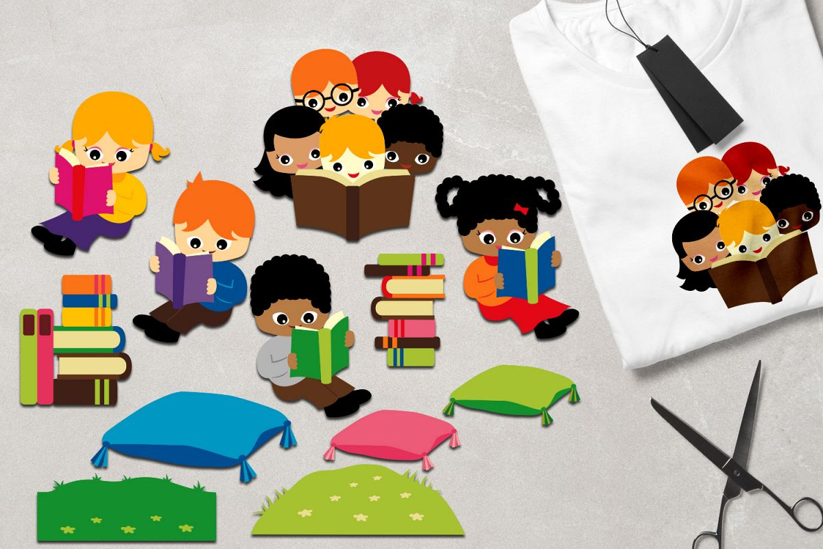 Reading clipart, kids sit read book, book stacks, students.