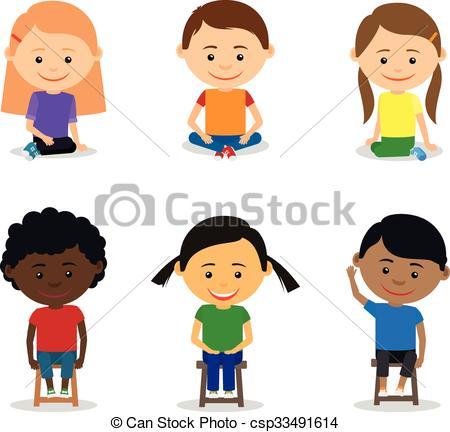 Little kids sitting.
