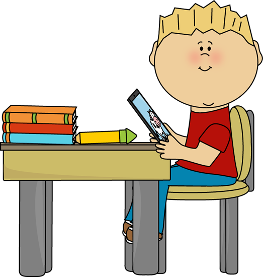 Boy Sitting at School Desk with a Tablet Clip Art.