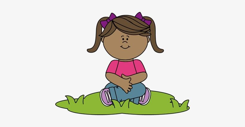 Kid Sitting In Grass Clip Art.
