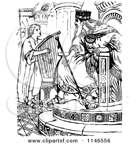 Clipart of Retro Vintage Black and White David Playing a Harp for.