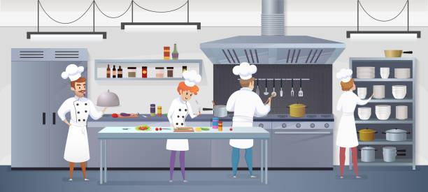 Best Restaurant Kitchens Illustrations, Royalty.