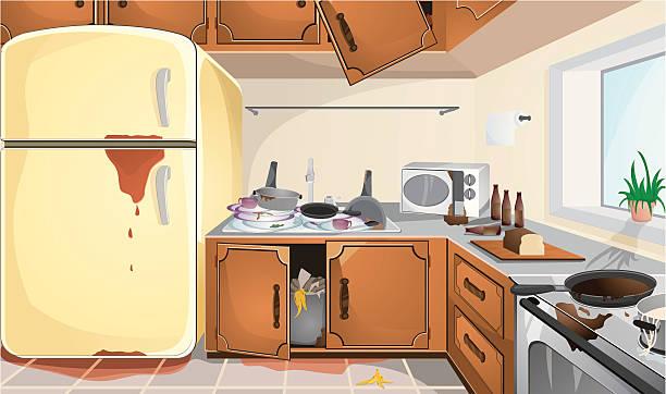 Best Messy Kitchen Illustrations, Royalty.