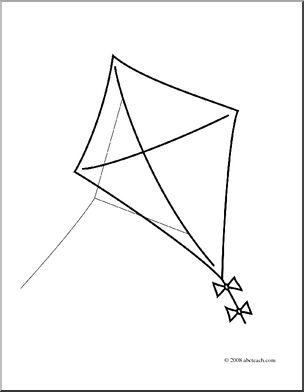Clip Art: Kite (coloring page) I abcteach.com.