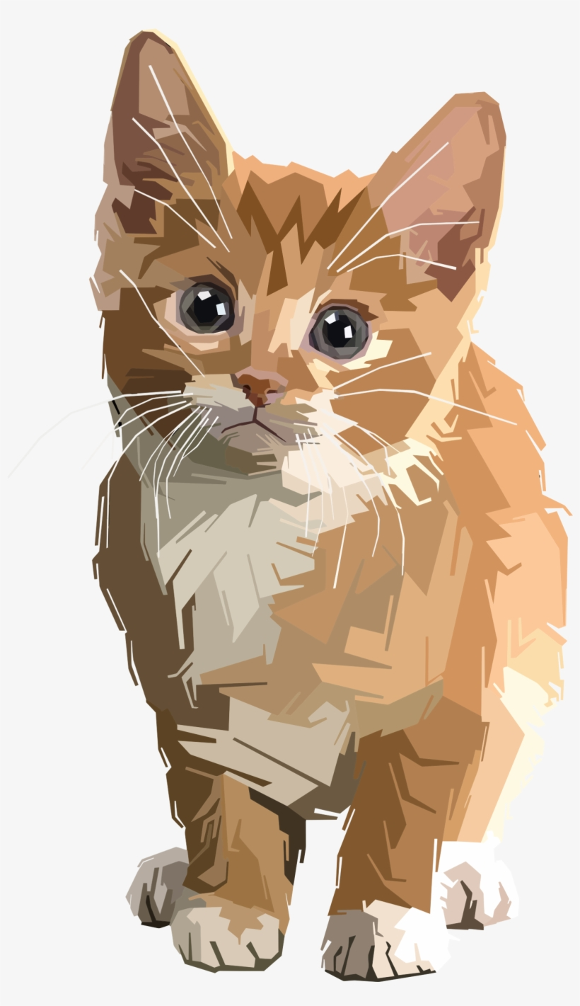 Stylized Geometric Kitten Png Transparent Library.