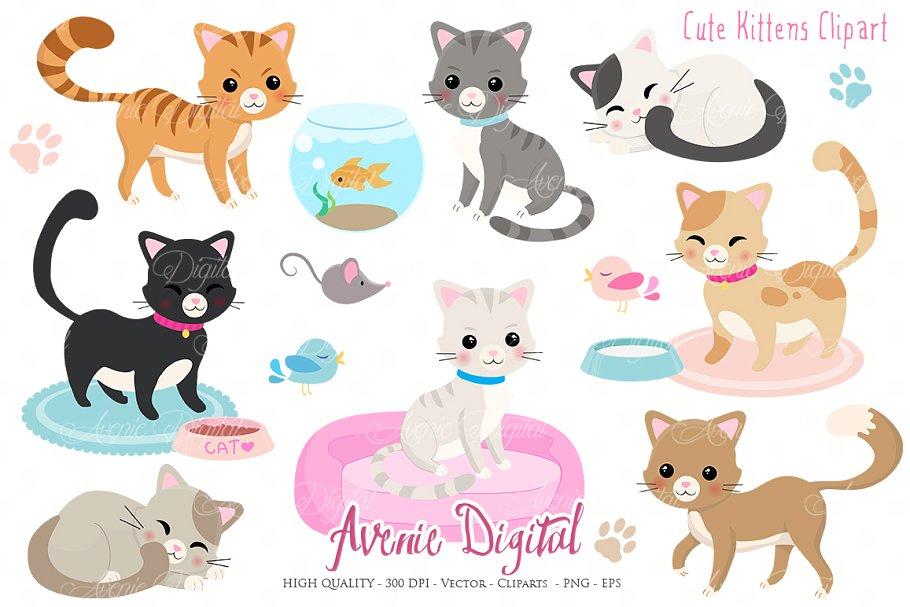 Cute Kittens Clipart + Vectors.