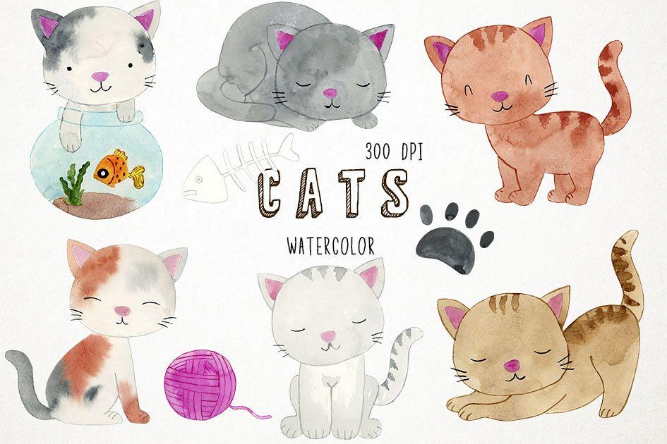Watercolor Cats Clipart, Cats Clip Art, Kitten Clipart.
