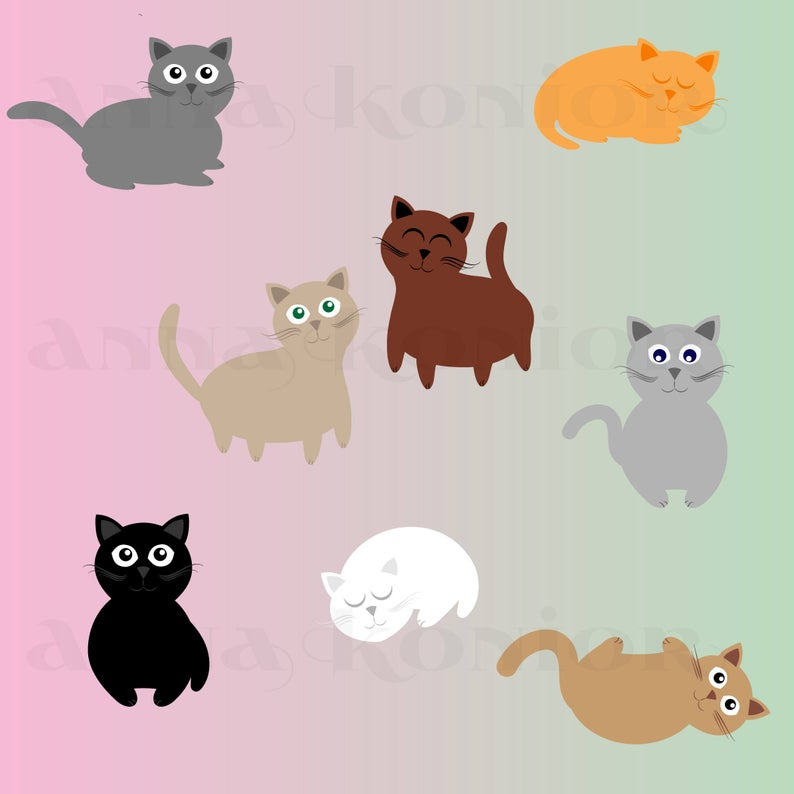 Kittens Clip Art, Kitten Vector graphics, clipart,cat graphic ( JPG + PNG)  Instant Download, Commercial Use.